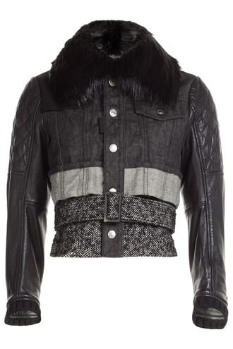 jacket denim jacket denim fur leather wool black