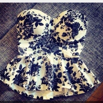 shirt style peplum black and white fashion perfecto strapless cute top sexy shirt classy fancy and casual casual roses floral shirt flowers rose