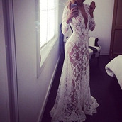 dress,sheer dress white,wedding clothes,jacket,bathrobe,wedding,underwear,lace lingerie,lace dress,lace,trendy,white,transparent,long,long sleeves