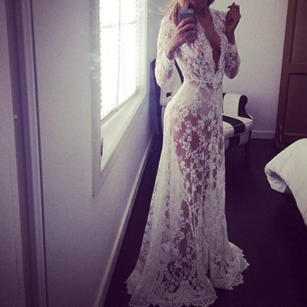 b782a7776 dress sheer dress white wedding clothes jacket bathrobe wedding underwear  lace lingerie lace dress lace trendy