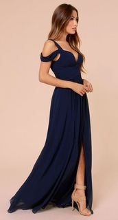 dress,navy dress,prom dress,prom gown,long dress,shoes,maxi dress,formal dress,fancy dress,navy blue ball,off the shoulder,special occasion dress,evening dress,ball dress navy blue,prom,navy,slit,boho dress,i am looking for the exactly same
