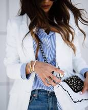 jewels,tumblr,bracelets,gold bracelet,jewelry,gold jewelry,stacked bracelets,stacked jewelry,ring,bag,white bag,embellished,embellished bag,shirt,blue shirt,stripes,striped shirt