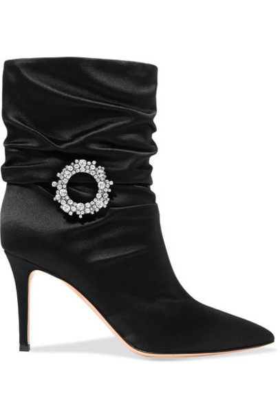 Gianvito Rossi embellished ankle boots black satin shoes
