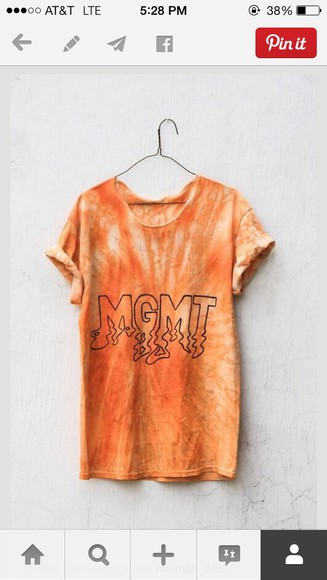 t-shirt oversized grunge orange soft grunge mgmt music hipster casual cool pinterest tie dye
