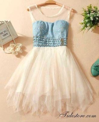 dress denim dress short dress cute beautiful pretty gorgeous blue and white