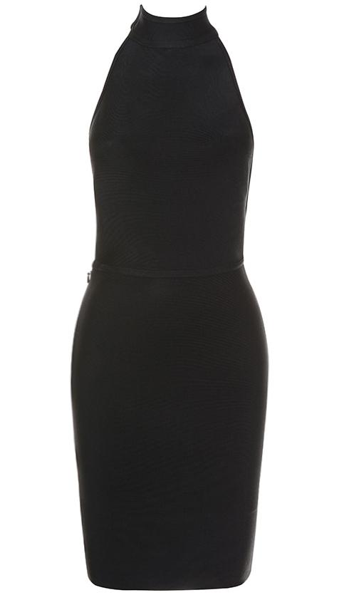Halter Backless Midi Bandage Dress Black
