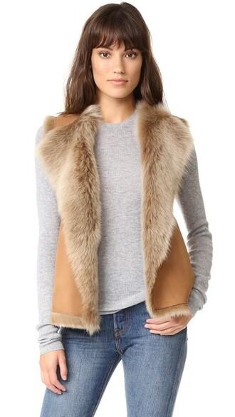 vest dark suede beige jacket
