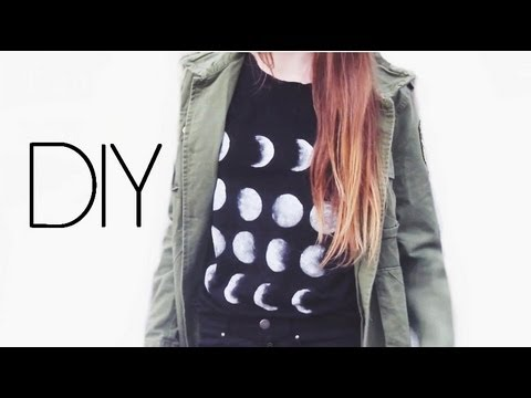 DIY ☾ Brandy Melville moon phases tank | T-shirt lunes - YouTube
