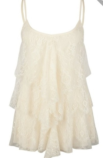 top lace tank top ruffle frilly chrochet lace