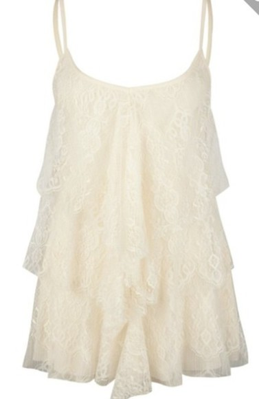 tank top top frills frilly lacey chrochet lace