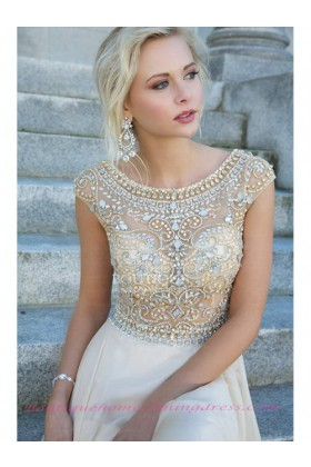 Line short sleeve 2015 prom dress