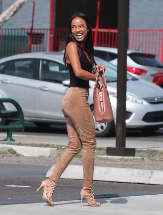 jeans pants top karrueche black top sandals high heel sandals nude sandals strappy sandals bag brown bag shoes
