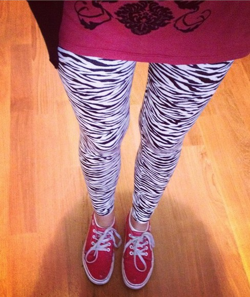 vans zebra print leggings red blackandwhite