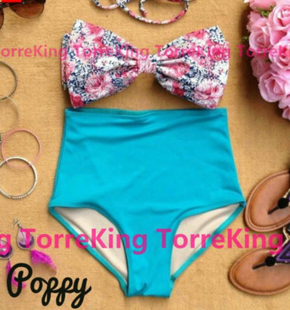 swimwear teal blue bikini floral print bow bow bikini vintage pink high waisted bikini