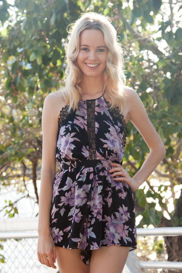 romper romper lace cute black purple backless floral shopfashionavenue