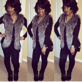jacket vest fur vest fur faux fur vest black brownfurcoat faux fur jacket winter swag black girls killin it grey fur black jeans leggings shoes jordans coat faux feather cute