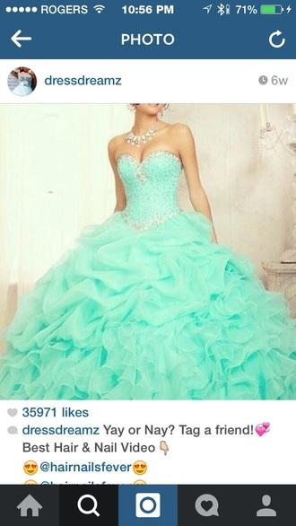dress sweetheart neckline puffy dress longish dress turquoise dress bling