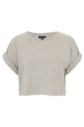 Roll Back Crop Tee - Tops  - Clothing  - Topshop