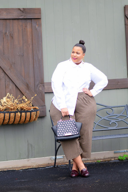 garner style blogger pants top shoes bag jewels plus size white shirt loafers handbag