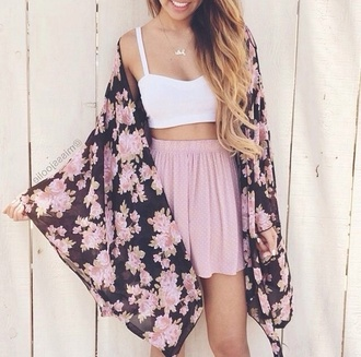 white top crop tops pink skirt floral kimono floral jacket summer outfits white crop tops cardigan pink black girly clothes skirt top jacket flowers blouse flower shirt bralette necklace and earrings set white summer top summer floral kimono dress tumblr pretty shirt outfit