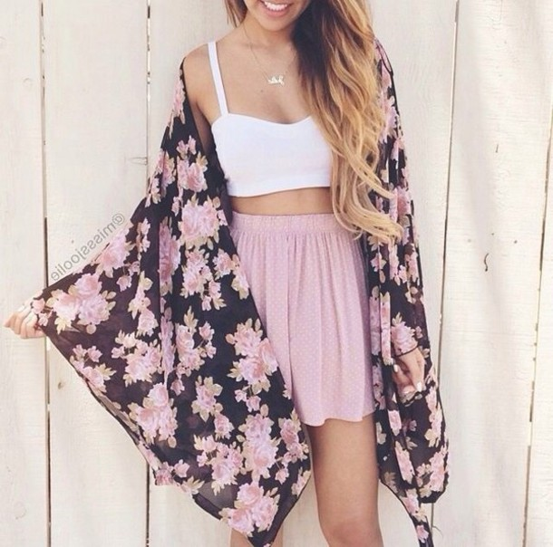 8befcefbe4be white top, crop tops, pink skirt, floral, kimono, floral jacket ...