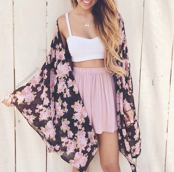 white top crop tops pink skirt floral kimono floral jacket summer outfits white crop tops cardigan pink black girly clothes skirt top blouse flower shirt bralette necklace and earrings set floral kimono jacket white crop tops white summer top summer