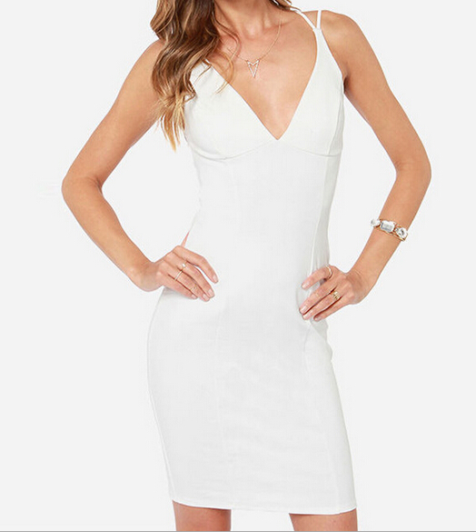 White deep v neck crossed tie backless bodycon dress