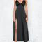 Black plunge neck split side silky cami midi dress