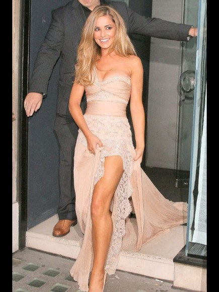 dress cheryl cole gown nude dress lace