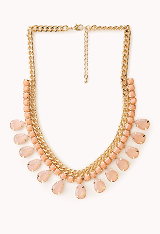 Teardrop Faux Gemstone Bib Necklace | FOREVER21 - 1031558232
