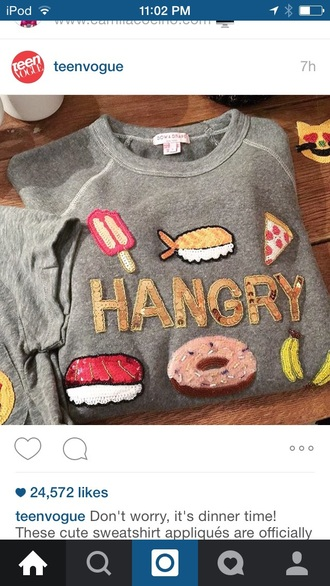 sweater hangry food grey sweater graphic tee