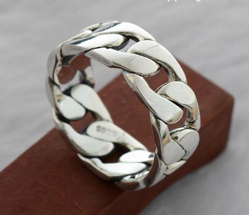 925 Sterling Silver Weave Chain Ring - Wishbop.com