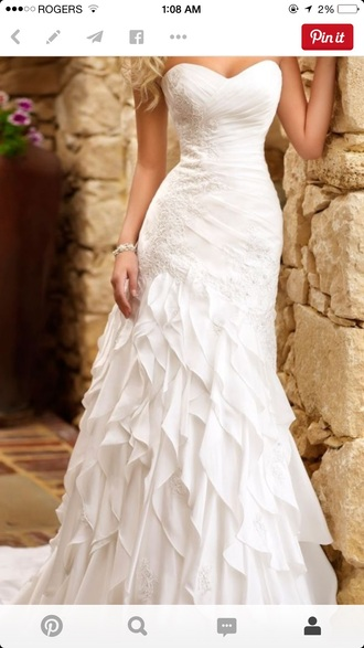 dress white wedding dress espow ruffles sweetheart dresses