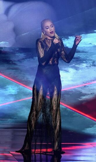 dress lace dress black dress mesh see through dress gwen stefani amas 2015