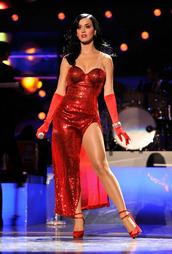 dress,katy perry,red dress,celebrity,celebrity style,slit dress,tube dress,sandals,pumps,platform pumps,high heel pumps,gloves,sequin dress