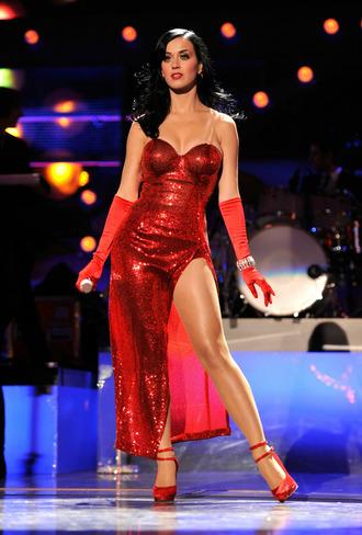 dress katy perry red dress celebrity celebrity style slit dress tube dress sandals pumps platform pumps high heel pumps gloves sequin dress