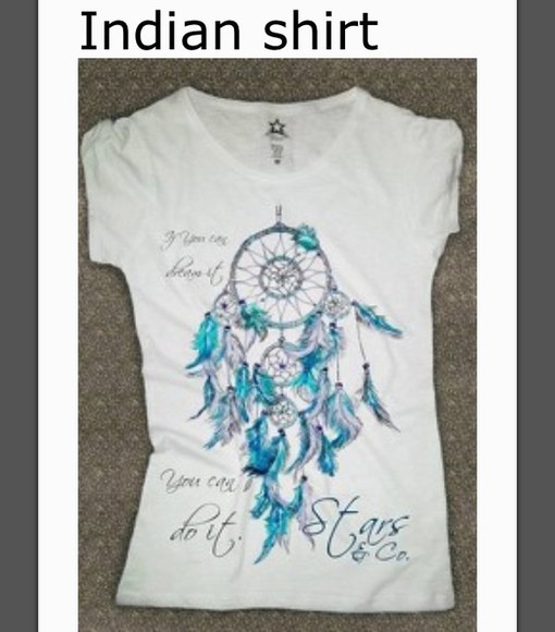 native american t-shirt light blue