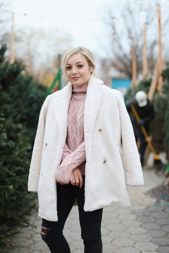 rach martino blogger sweater jeans coat shoes winter outfits pink sweater turtleneck sweater white coat