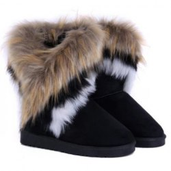 Casual women's snow boots with multicolor fur and mid