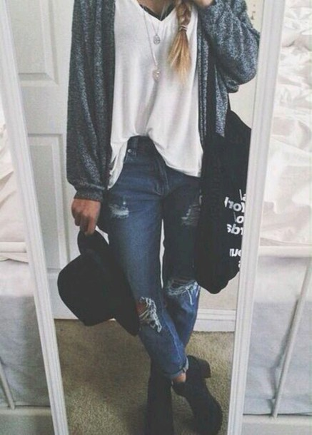 t-shirt jeans hat belt bag top cardigan shoes pants ripped girl girl grunge tumblr outfit scarf