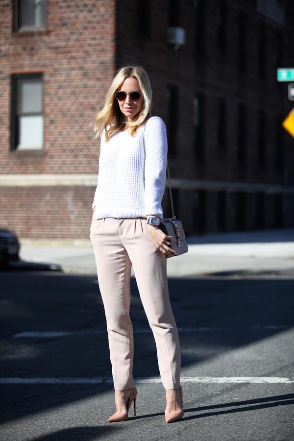 brooklyn blonde sunglasses sweater t-shirt pants bag shoes jewels