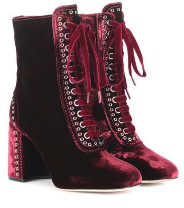 Miu Miu Lace-up velvet ankle boots in red