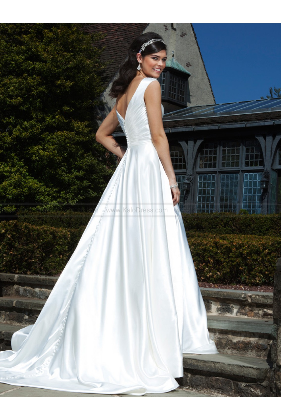 V-Neck Ruched Charmeuse Ball Bridal Dress by Sincerity 3728 - Informal Wedding Dresses