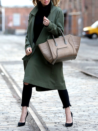 coat tumblr green coat trench coat bag grey bag denim jeans black jeans black skinny jeans skinny jeans sweater black sweater turtleneck turtleneck sweater pumps pointed toe pumps high heel pumps