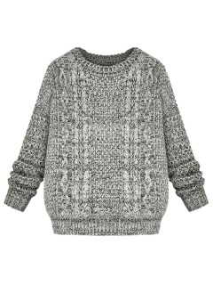 Marled gray cable sweater