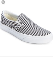 shoes,vans,gingham print,slip on shoes