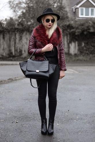 sammi jackson blogger hat leather jacket burgundy leather bag grunge black jeans