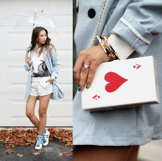 different cands blogger bag shorts high top sneakers jacket light blue