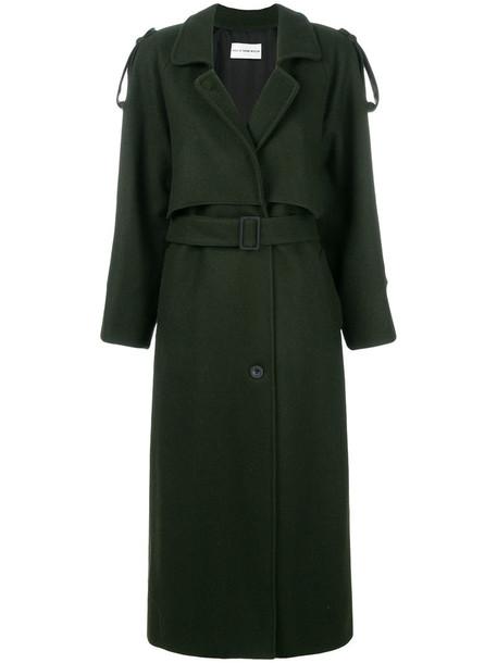 Walk Of Shame - oversized trench coat - women - Silk/Polyamide/Polyester/Wool - 40, Green, Silk/Polyamide/Polyester/Wool
