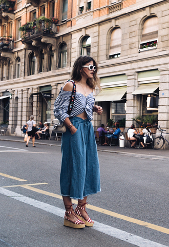 shirt tumblr stripes striped shirt pants denim culottes culottes sandals wedges wedge sandals sunglasses white sunglasses shoes bag